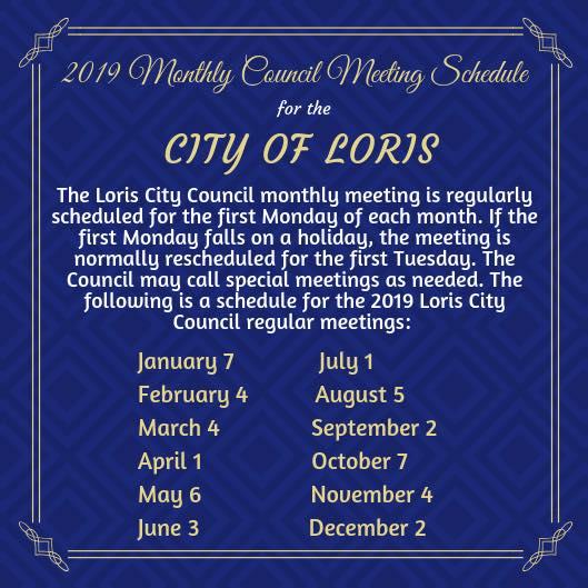 2019 Regular Council Meeting Schedule